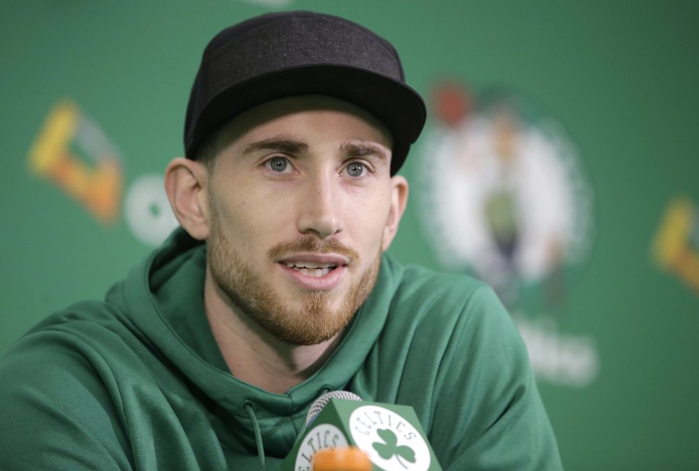 Boston Celtics' Gordon Hayward takes questions from members of the media during a news conference, Thursday, Nov. 2, 2017 at the Celtics' training facility in Waltham, Mass. (Steven Senne/AP)