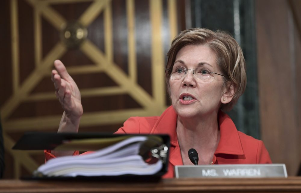 Sen. Elizabeth Warren in Washington, Tuesday, Oct. 3, 2017. Warren and other Democrats are calling for Republicans to delay a vote on taxes until Doug Jones of Alabama is officially seated in the Senate. (Susan Walsh/AP/File)