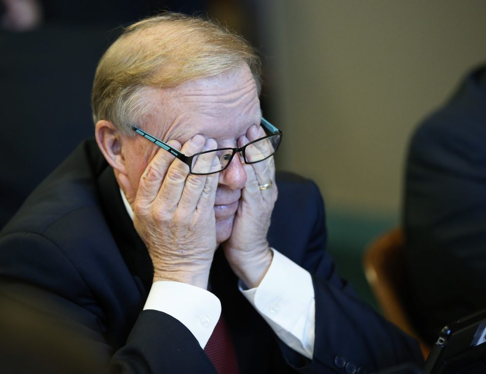 Oklahoma state Rep. Earl Sears, R-Bartlesville, rubs his eyes during a budget committee meeting in Oklahoma City, Tuesday, Oct. 24, 2017. (Sue Ogrocki/AP)