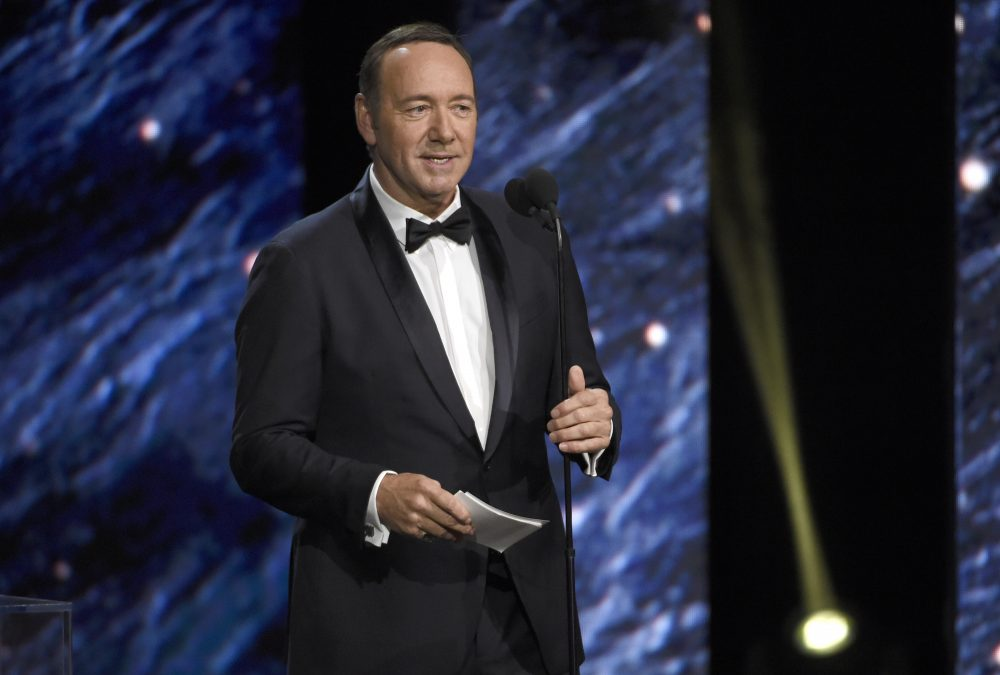 Kevin Spacey presents the award for excellence in television at the BAFTA Los Angeles Britannia Awards at the Beverly Hilton Hotel on Friday, Oct. 27, 2017, in Beverly Hills, Calif. (Chris Pizzello/Invision/AP)