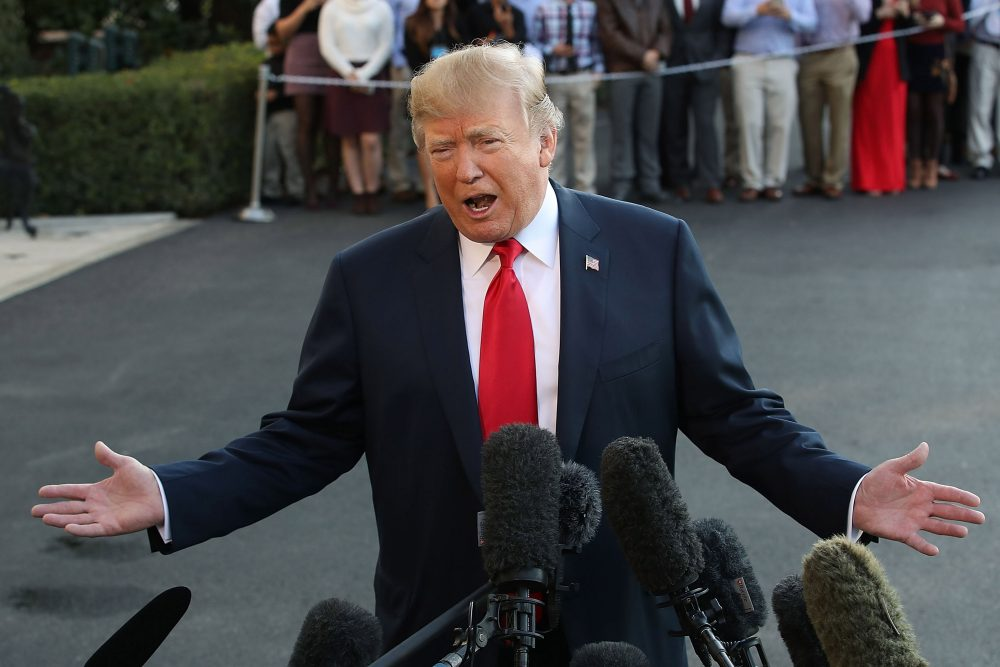 President Trump talks to the media before he and first lady Melania Trump depart on Marine One on Nov. 3, 2017 in Washington, D.C. Trump is embarking on a five-country tour throughout Asia. (Mark Wilson/Getty Images)