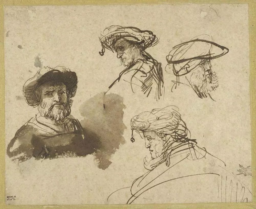 """Rembrandt's """"Four Studies of Male Heads,"""" drawn around 1636, from the Maida and George Abrams Collection. (Courtesy Harvard Art Museums)"""