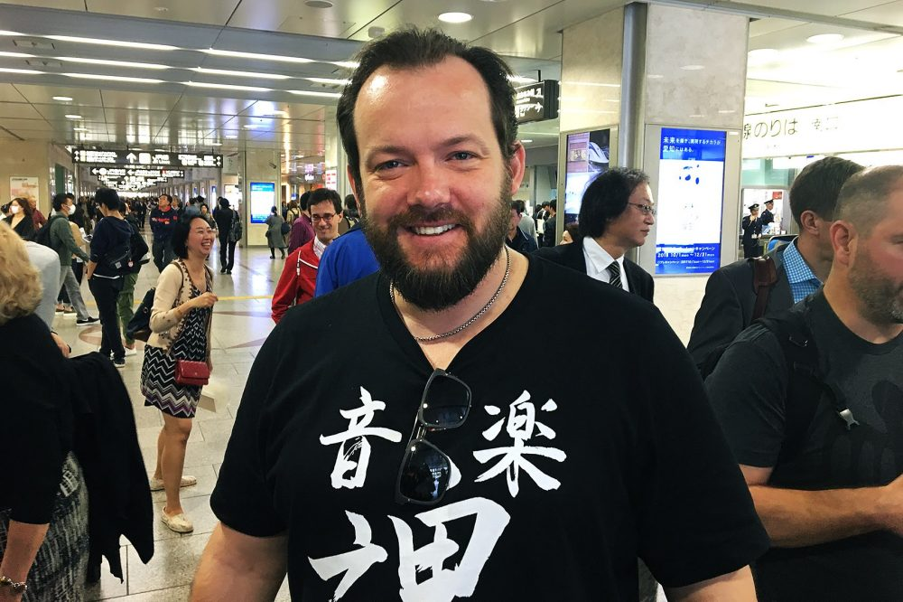 BSO conductor Andris Nelsons at the train station in Osaka, Japan. (Andrea Shea/WBUR)