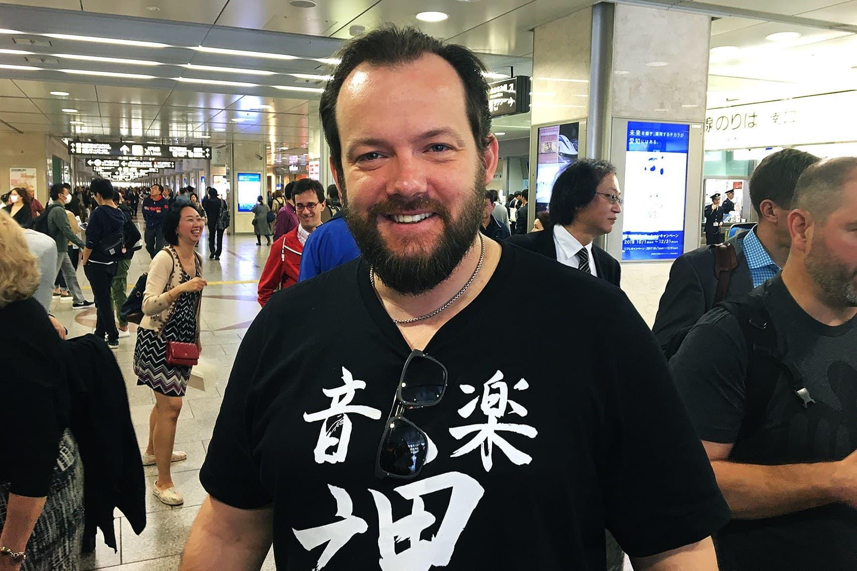 BSO conductor Andris Nelsons at the train station in Osaka, Japan. (Andrea Shea/WBUR)