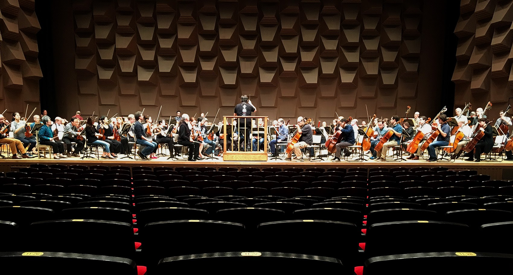 The BSO during rehearsal at Osaka Festival Hall in Japan. (Andrea Shea/WBUR)