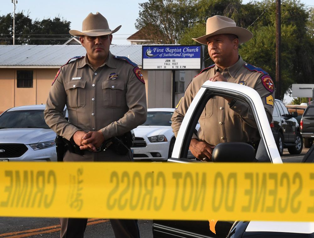State troopers guard the entrance to the First Baptist Church after a mass shooting that killed 26 people in Sutherland Springs, Texas on Nov. 6, 2017. (Mark Ralston/AFP/Getty Images)