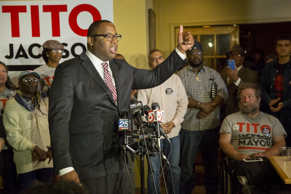 Tito Jackson addresses supporters in Roxbury after conceding the 2017 Boston mayoral race. (Robin Lubbock/WBUR)
