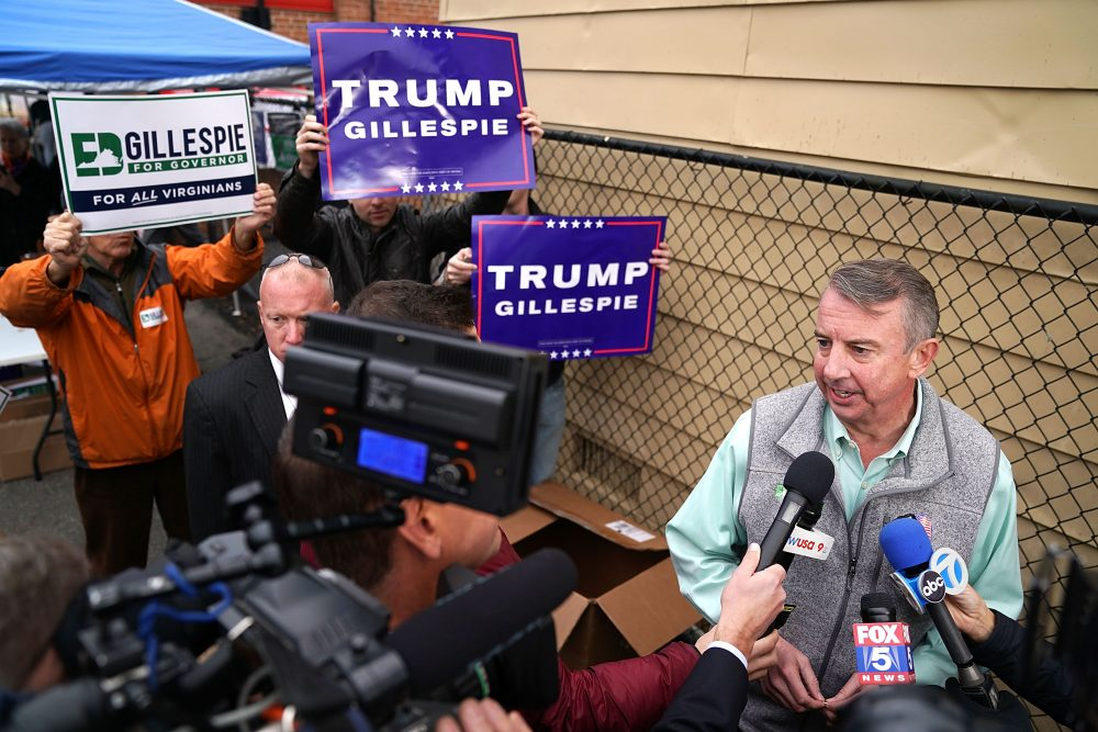 Republican candidate for Virginia governor Ed Gillespie talks to journalists after casting his vote at the polling place at Washington Mill Elementary School Nov. 7, 2017 in Alexandria, Va. In a race that many see as a test of the Republican administration of President Trump, Gillespie is running against the commonwealth's current lieutenant governor, Democrat Ralph Northam. (Chip Somodevilla/Getty Images)