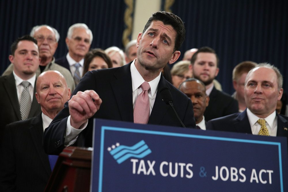 House Speaker Rep. Paul Ryan, R-Wis., (center) speaks during a news conference on the tax overhaul legislation on Nov. 2, 2017 in Washington. (Alex Wong/Getty Images)