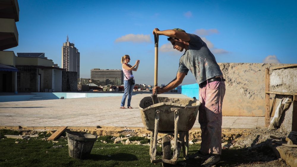 A laborer works at the Chateau Miramar Hotel in Havana on Oct. 16, 2017. Cuba's hotels have recovered from the damage caused by Hurricane Irma, which hit the northern coast of the island, where most of the beach hotels are located, just two months before the start of the high season. (Maylin Alonso/AFP/Getty Images)