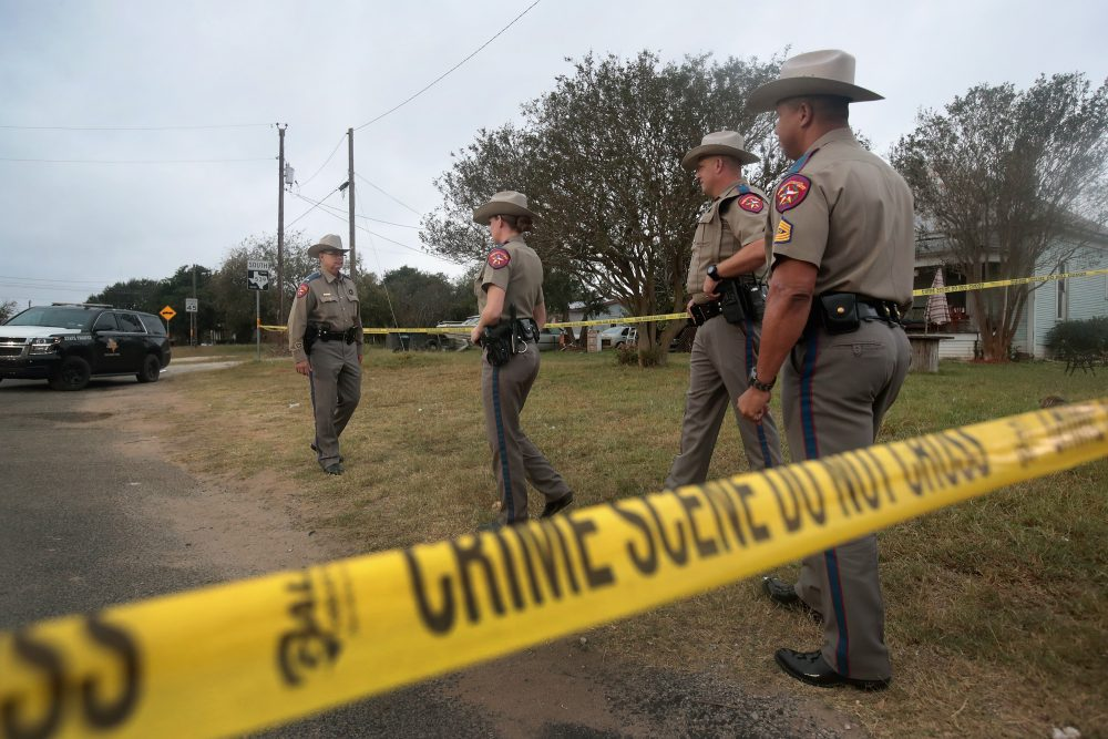 Law enforcement officials continue their investigation into the shooting at the First Baptist Church of Sutherland Springs on Nov/ 7, 2017 in Sutherland Springs, Texas. (Scott Olson/Getty Images)