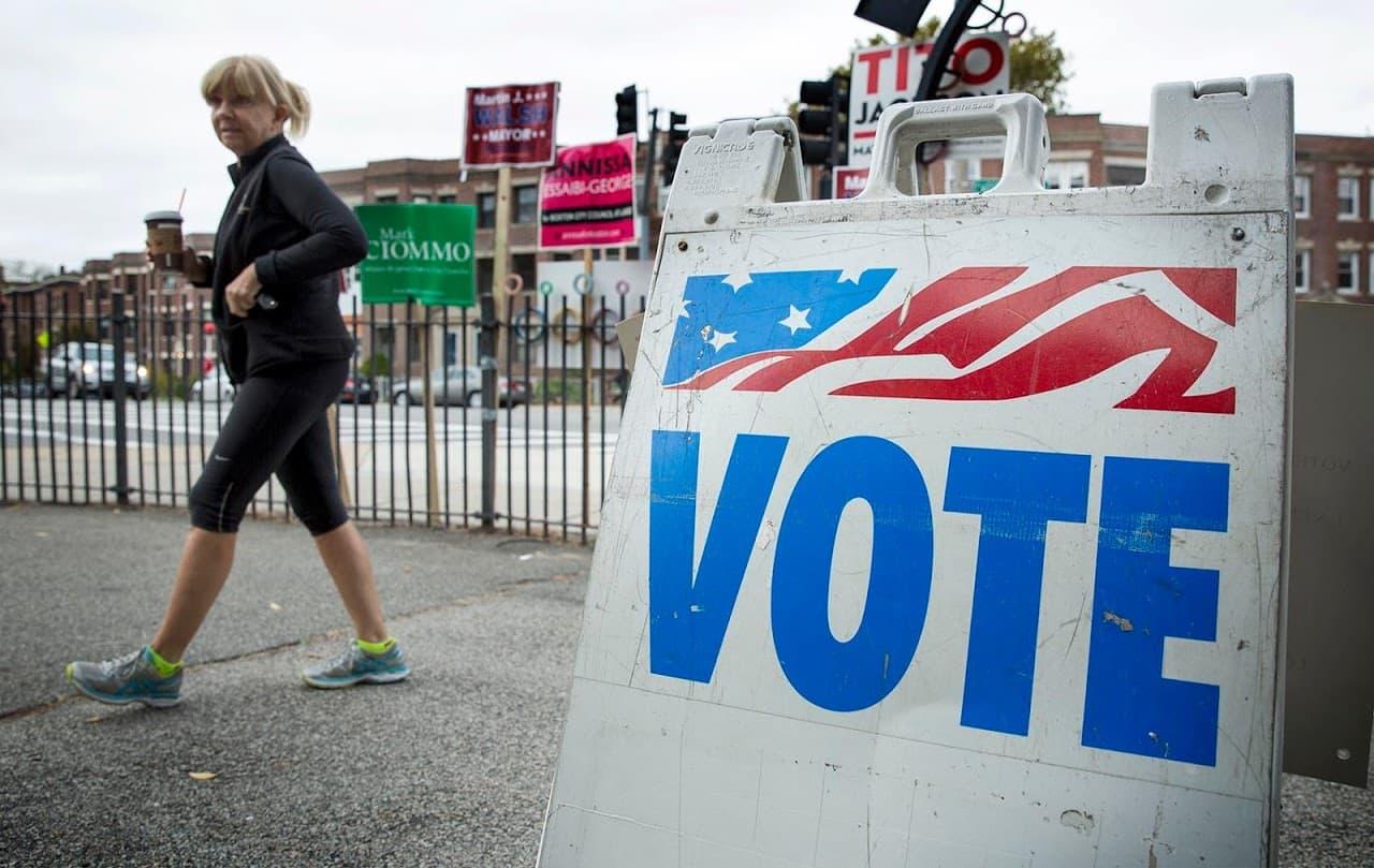 A voter enters a polling center on Chestnut Hill Avenue in Boston. (Robin Lubbock/WBUR)