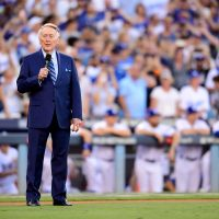 "Former Los Angeles Dodgers broadcaster Vin Scully announced he will ""never watch another NFL game."" (Harry How/Getty Images)"