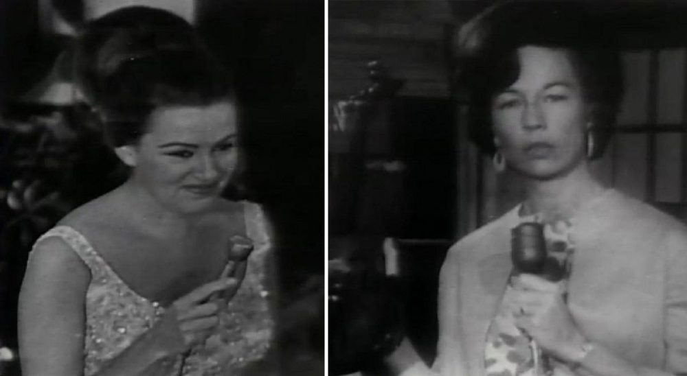 Frances Preston (left) interviews people during the opening night of the Country Music Hall Of Fame and Museum, 1967. Jo Walker holds a fiddle in front of the museum's original artifacts case. (Courtesy Country Music Hall of Fame and Museum)