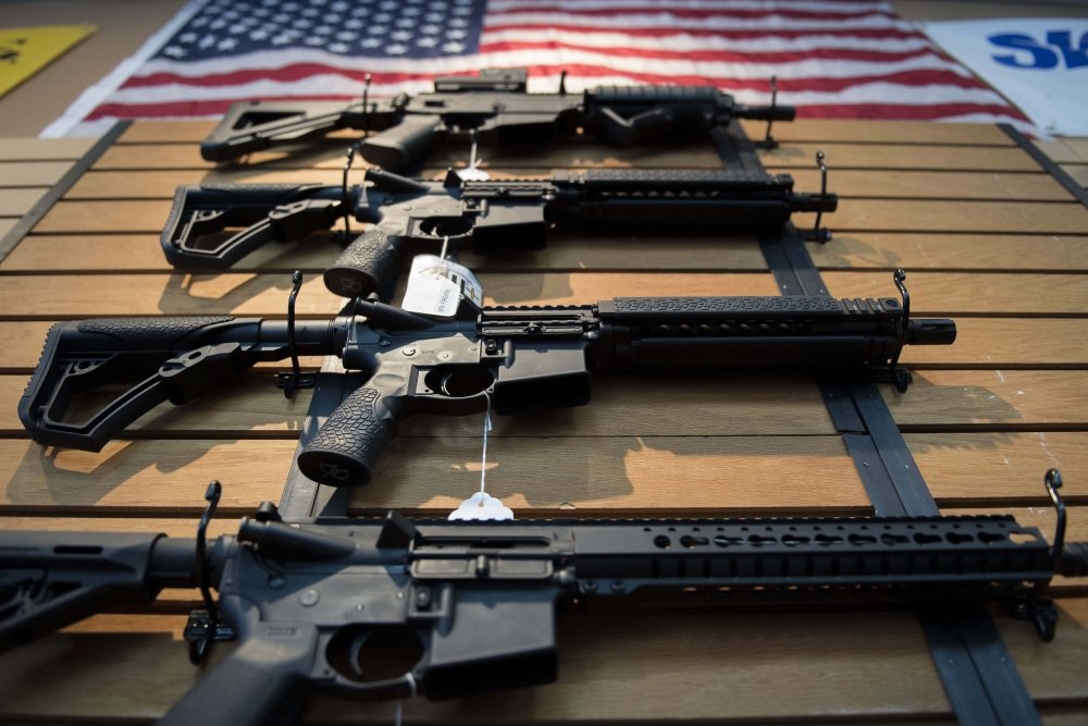Assault rifles hang on the wall for sale at Blue Ridge Arsenal in Chantilly, Virginia, on Oct. 6, 2017. (Jim Watson/AFP/Getty Images)