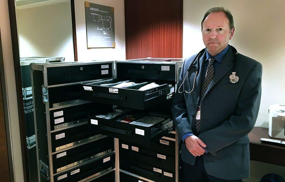 Dr. Robert Partidge, the BSO's tour physician, with his medicine trunk. (Andrea Shea/WBUR)