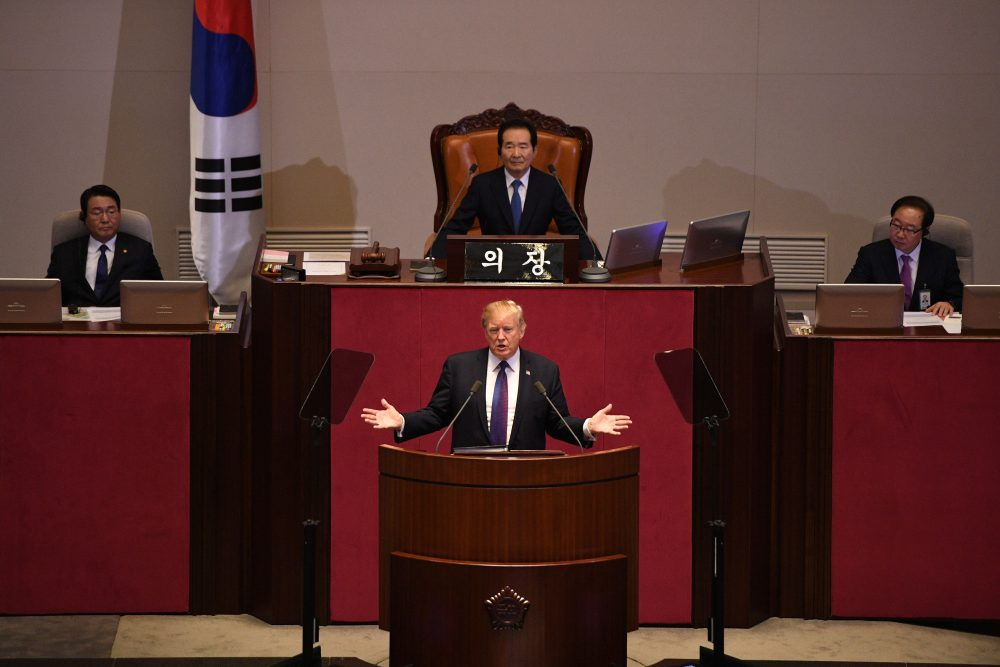 President Trump addresses the National Assembly in Seoul on Nov. 8, 2017. (Jim Watson/AFP/Getty Images)