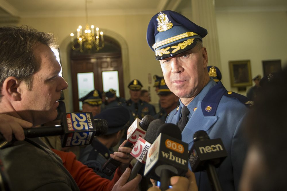 State police Colonel Richard McKeon answers questions at the State House Thursday. (Jesse Costa/WBUR)