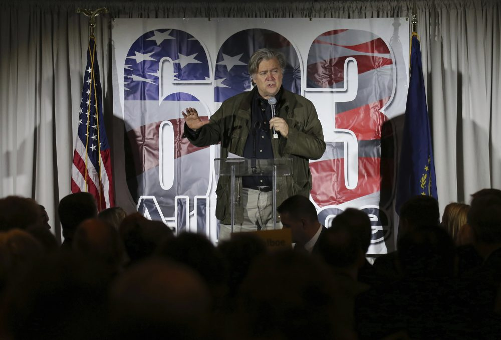 Steve Bannon, the former chief strategist to President Donald Trump, speaks during an event in Manchester, N.H., Thursday, Nov. 9, 2017. (Mary Schwalm/AP)