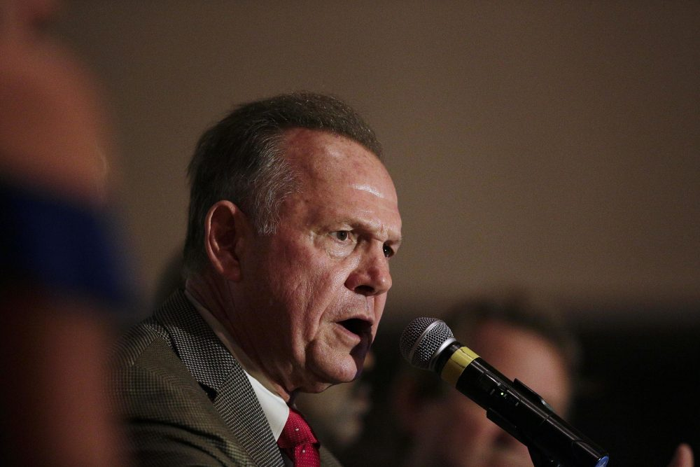 Former Alabama Chief Justice and U.S. Senate candidate Roy Moore during speaks during his election party, Tuesday, Sept. 26, 2017, in Montgomery, Ala. (Brynn Anderson/AP)