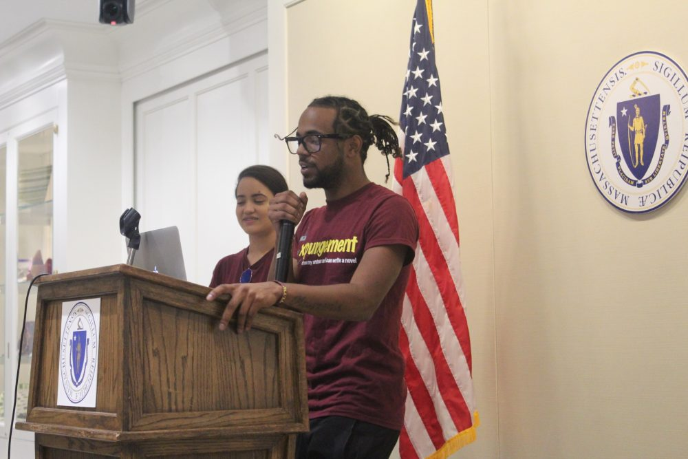 Jefferson Alvarez speaks at a rally in support of the criminal record expungement provision. (Courtesy of UTEC)