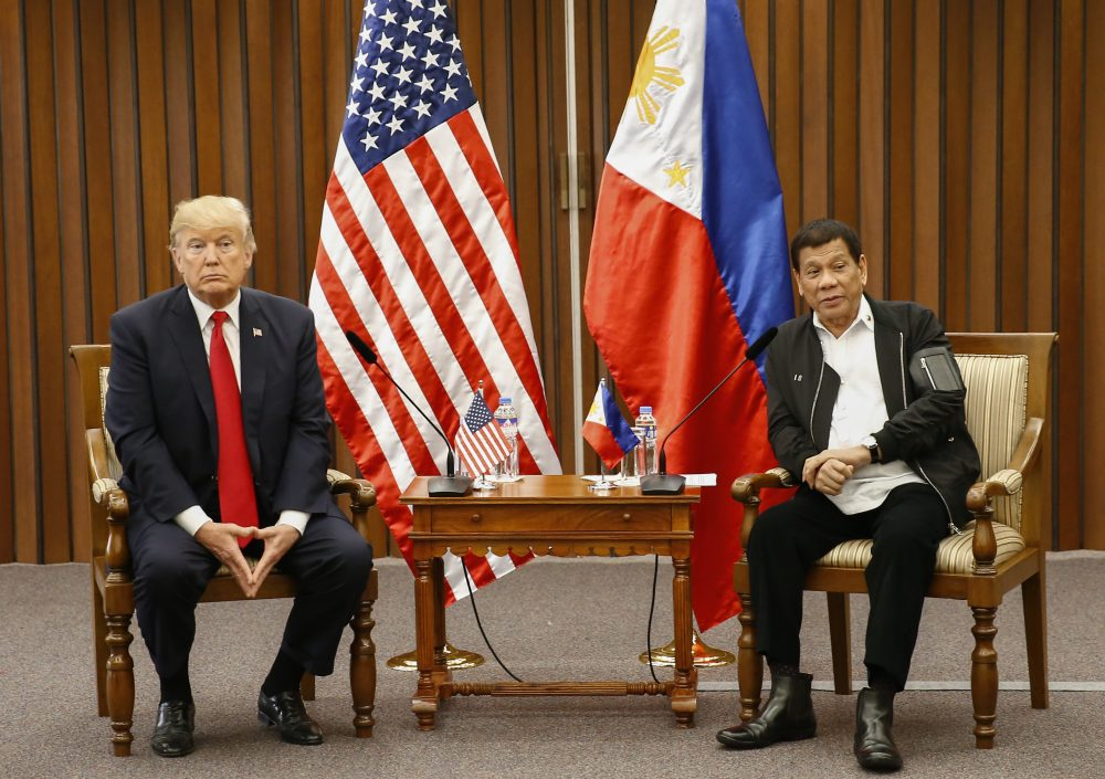 President Trump speaks during a bilateral meeting with Philippine President Rodrigo Duterte on the sidelines of the 31st Association of Southeast Asian Nations (ASEAN) Summit and Related Meetings at the Philippine International Convention Center in Manila on Nov. 13, 2017. (Rolex Dela Pena/AFP/Getty Images)