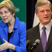 Sen. Elizabeth Warren and Gov. Charlie Baker (Steven Senne/AP, Jesse Costa/WBUR)