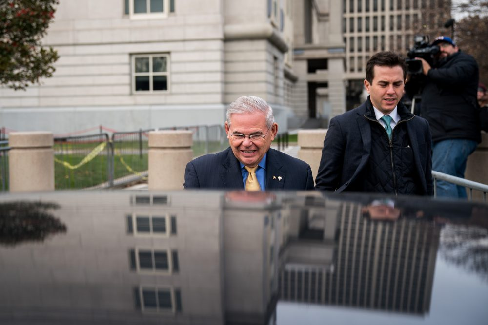 Sen. Robert Menendez, D-N.J., gets into his car as he departs federal court, Nov. 14, 2017 in Newark, N.J. The jury continues to deliberate in his corruption trial. (Drew Angerer/Getty Images)