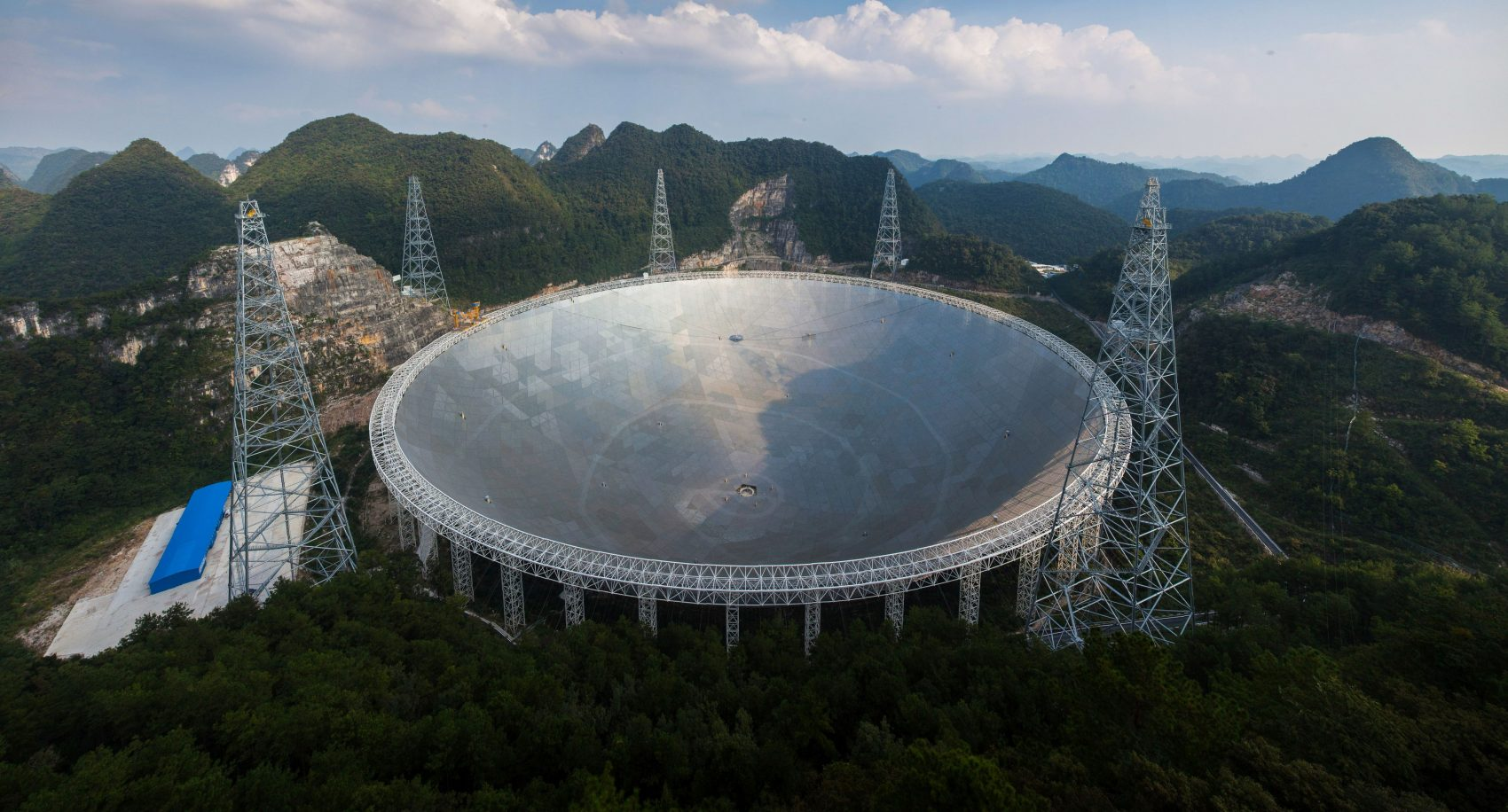This picture taken on Sept. 24, 2016 shows the Aperture Spherical Radio Telescope (FAST) in Pingtang, in southwestern China's Guizhou province. (STR/AFP/Getty Images)