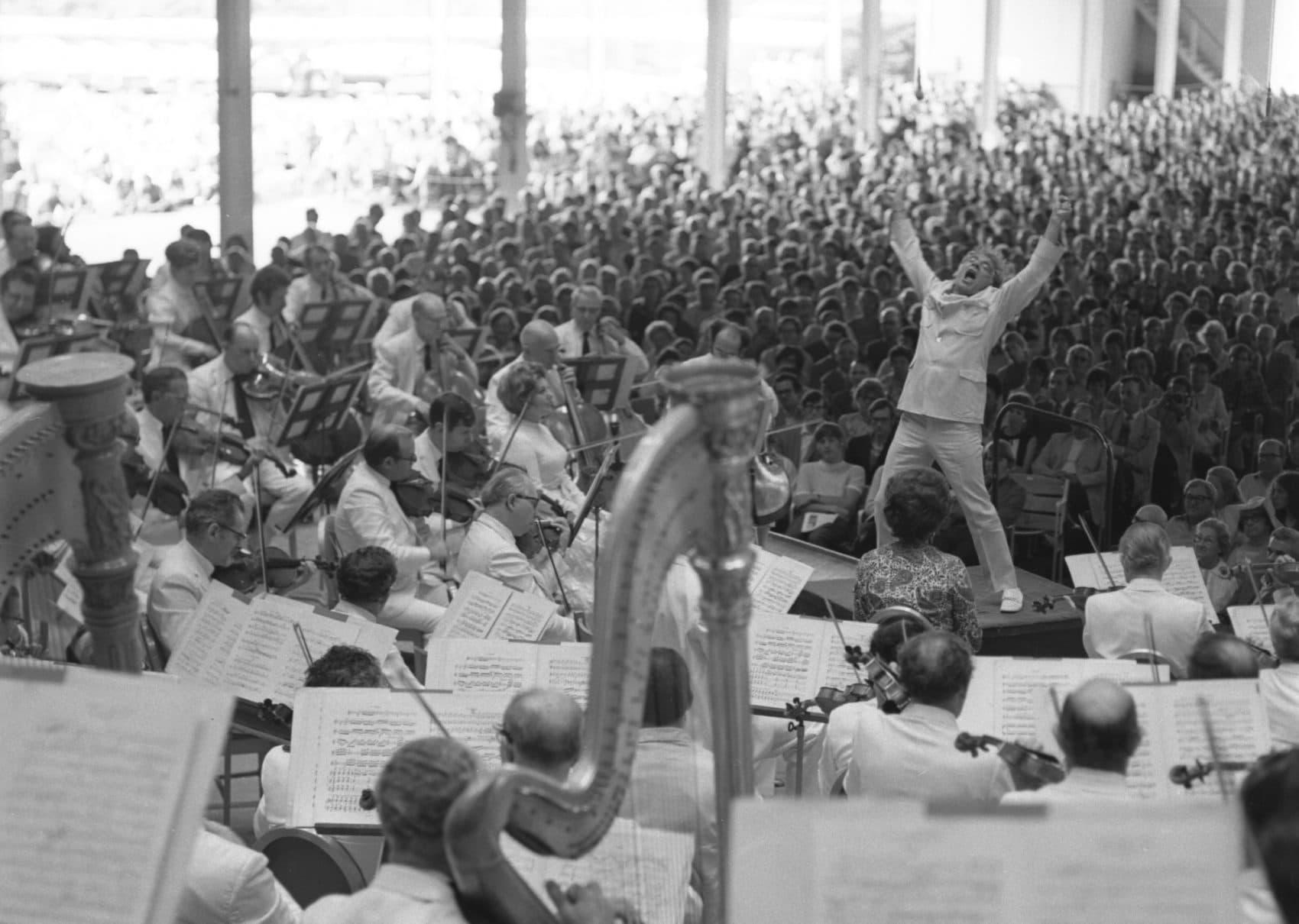 Leonard Bernstein conducting at Tanglewood. (Courtesy Heinz Weissenstein, Whitestone Photo/BSO)
