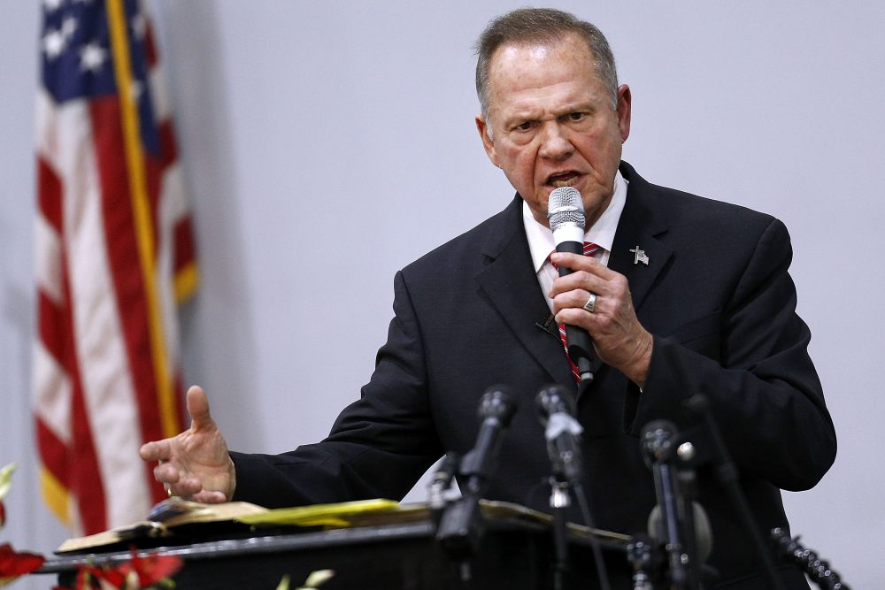 Republican Senate candidate Roy Moore speaks during a campaign event at the Walker Springs Road Baptist Church on Nov. 14, 2017 in Jackson, Ala. (Jonathan Bachman/Getty Images)