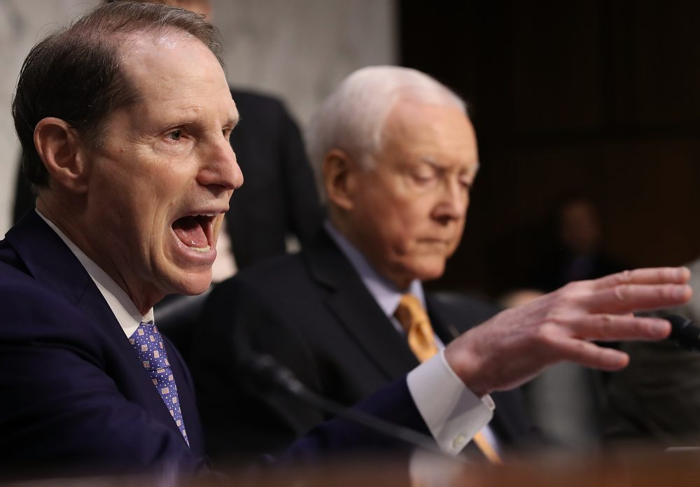 Sen. Ron Wyden, ranking member of the Senate Finance Committee, (D-Ore.) speaks during a markup of the Republican tax overhaul proposal on Nov. 14, 2017 in Washington, D.C. (Win McNamee/Getty Images)