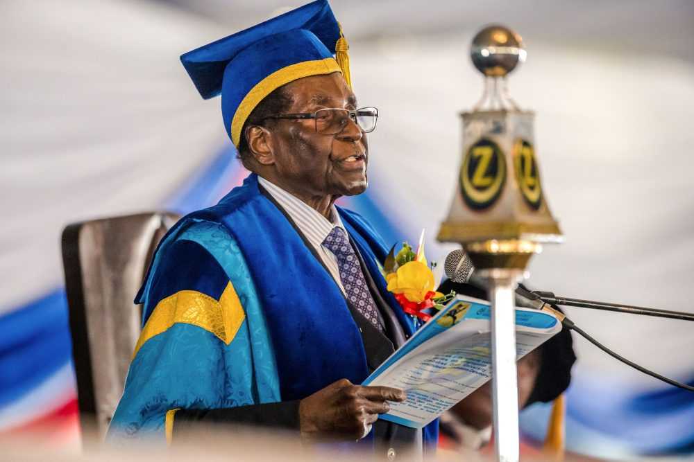 Zimbabwe's President Robert Mugabe delivers a speech during a graduation ceremony at the Zimbabwe Open University in Harare, where he presides as the chancellor, on Nov. 17 2017. (AFP/Getty Images)