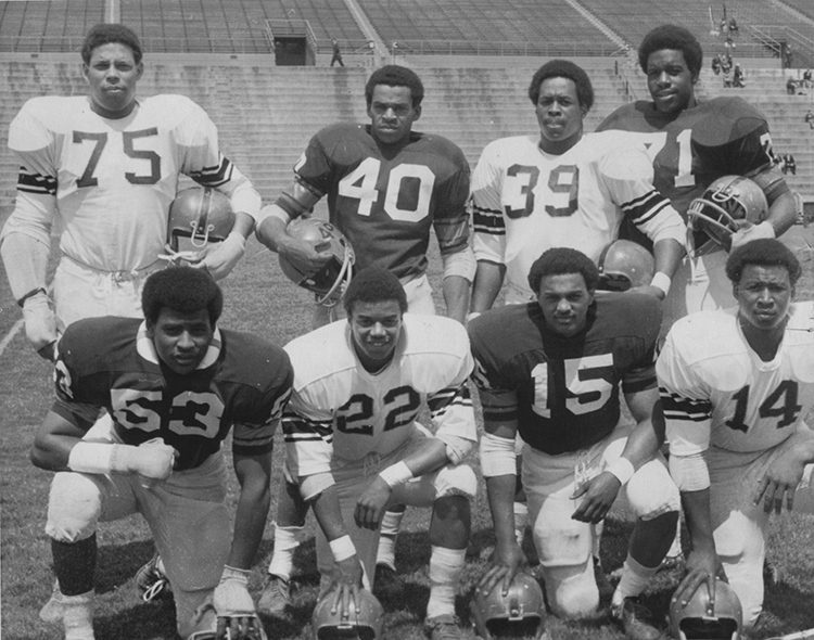 Members of the Syracuse University football team boycotted the 1970 season because of racial discrimination. (Courtesy Syracuse 8)