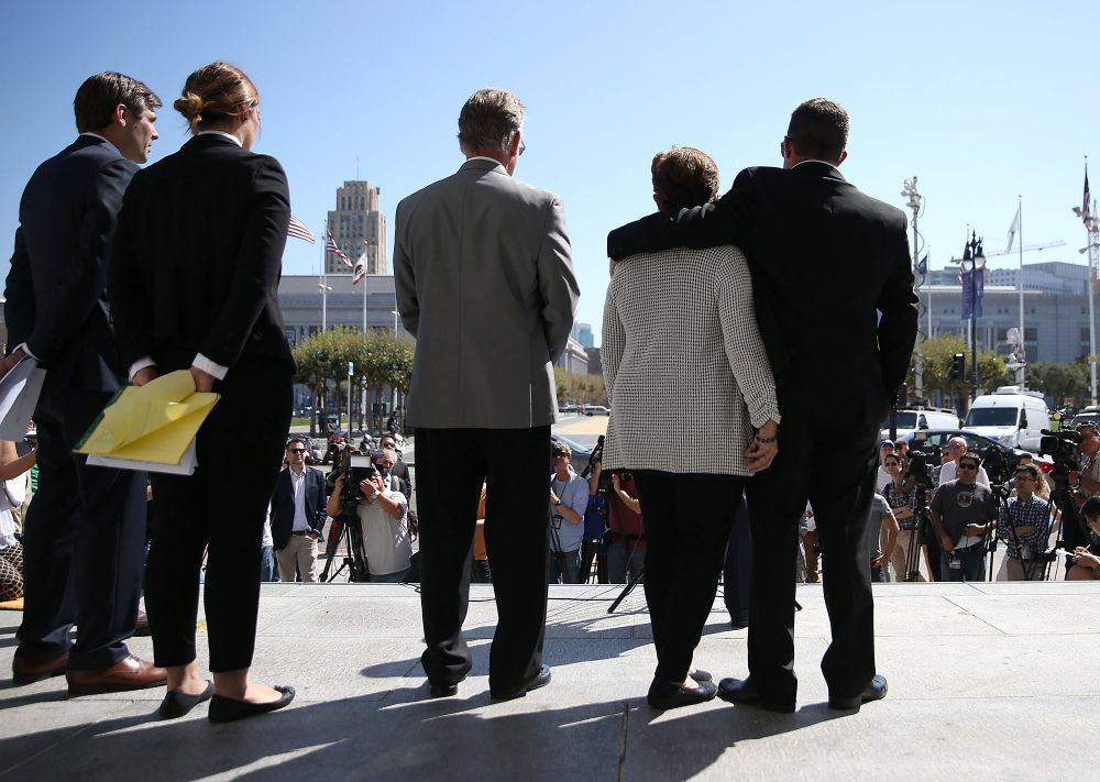(Right to left) Brad Steinle, Liz Sullivan and Jim Steinle, the family of Kate Steinle who was killed by an undocumented immigrant, look on during a news conference on Sept. 1, 2015 in San Francisco, Calif. (Justin Sullivan/Getty Images)