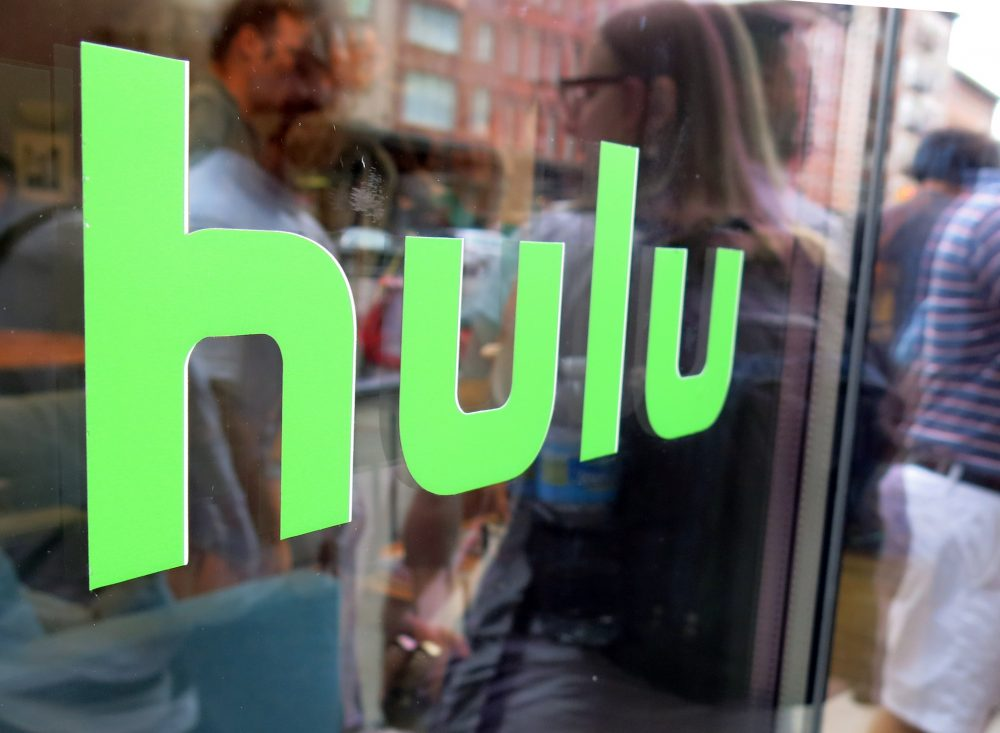 This June 27, 2015, photo, shows the Hulu logo on a window at the Milk Studios space in New York. (Dan Goodman/AP)