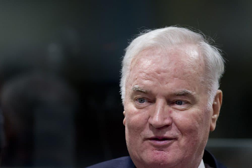 Former Bosnian Serb commander Ratko Mladic enters the International Criminal Tribunal for the former Yugoslavia (ICTY), on Nov. 22, 2017, to hear the verdict in his genocide trial. (Peter Dejong/AFP/Getty Images)