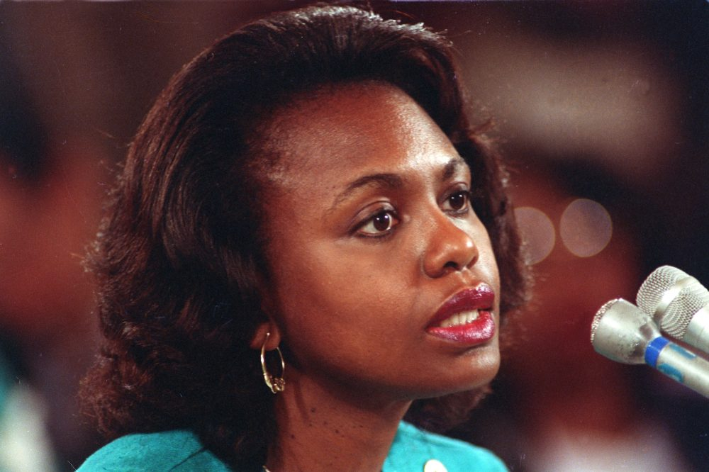 "University of Oklahoma law professor Anita Hill testifies before the Senate Judiciary Committee on the nomination of Clarence Thomas to the Supreme Court on Capitol Hill in Washington, D.C., Friday, Oct. 11, 1991. Hill testified that she was ""embarrassed and humiliated"" by unwanted, sexually explicit comments made by Thomas when she worked for him in the 1980s. (John Duricka/AP)"