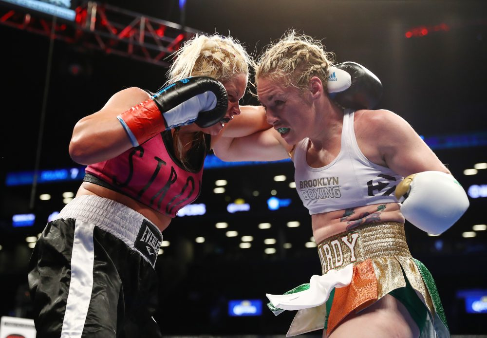 Heather Hardy (right) is still undefeated as a boxer. (Al Bello/Getty Images)