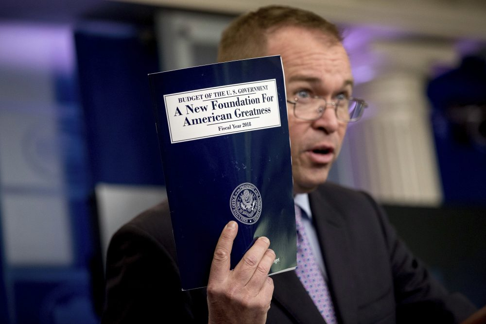 In this May 23, 2017, photo, budget director Mick Mulvaney holds up a copy of President Donald Trump's proposed fiscal 2018 federal budget as he speaks to members of the media in the Press Briefing Room of the White House in Washington. His $4.1 trillion plan for the budget year beginning Oct. 1 generally proposed deep cuts in safety net programs, including Medicaid and the Children's Health Insurance Program. (Andrew Harnik/AP)
