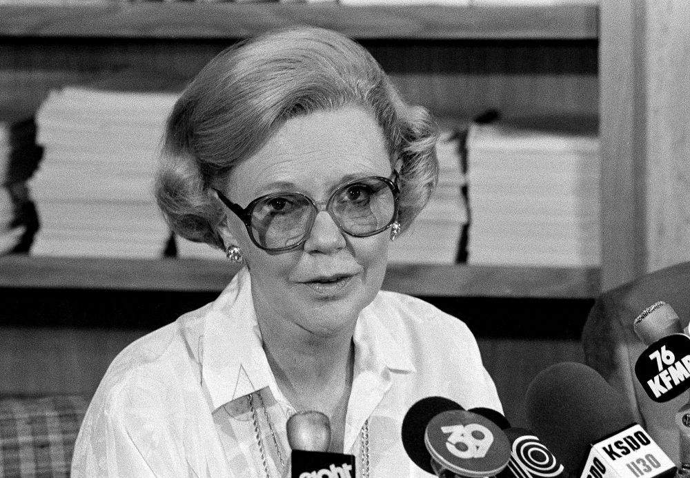 Joan Kroc, widow of McDonald's founder and owner Ray Kroc, announces at a news conference in La Jolla, Calif., that the McDonald's Corp. has donated $1 million to the San Ysidro Survivor's Fund, July 20, 1984. (Greg Vojtko/AP)