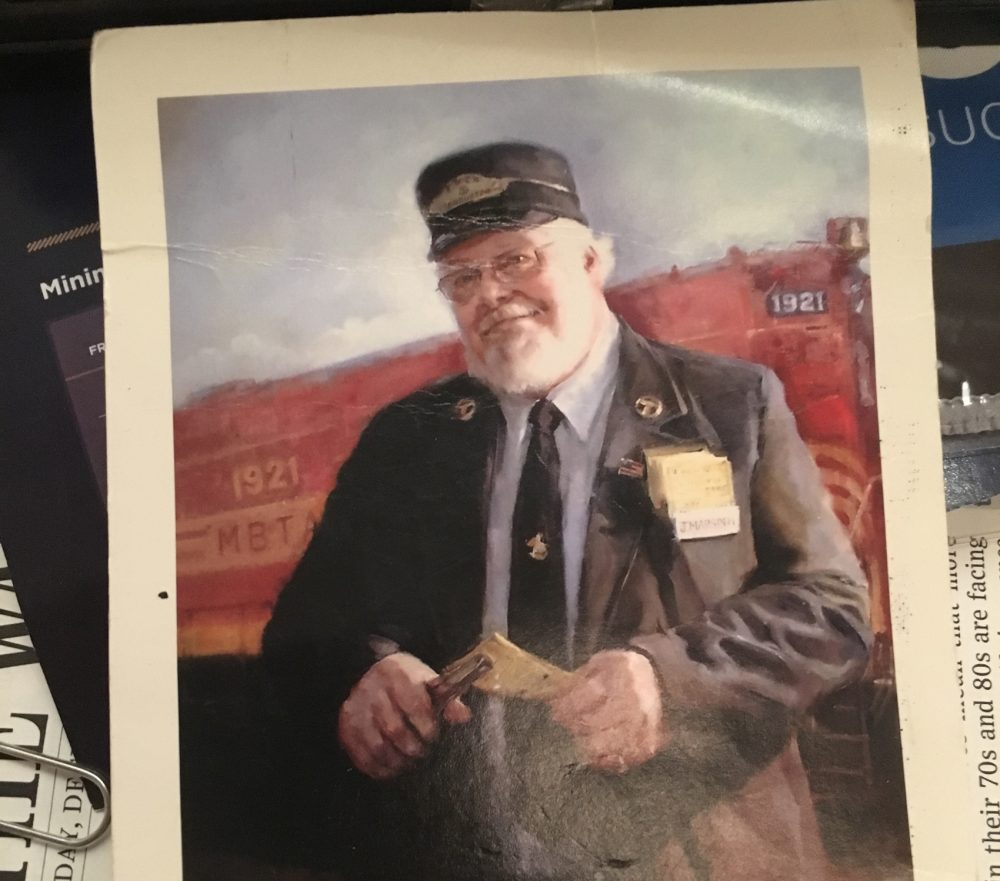 A painting of Jay Marsden Sr., who was a train conductor. (Courtesy Jay Marsden Jr.)