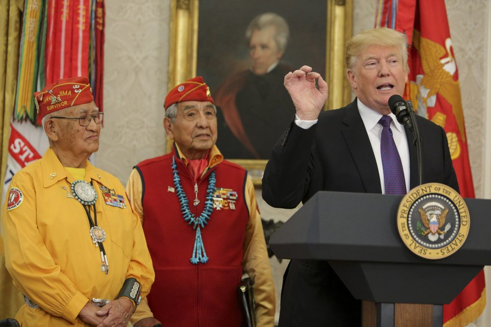 """President Trump speaks during an event honoring members of the Native American code talkers in the Oval Office of the White House, on Nov. 27, 2017 in Washington. Trump stated, """"You were here long before any of us were here. Although we have a representative in Congress who they say was here a long time ago. They call her Pocahontas,"""" in reference to his nickname for Sen. Elizabeth Warren. (Oliver Contreras-Pool/Getty Images)"""