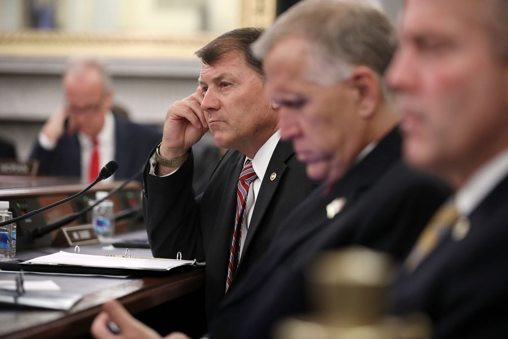 Senate Veterans' Affairs Committee member Sen. Mike Rounds (R-S.D.) (center) listens to testimony during a hearing in the Russell Senate Office Building on Capitol Hill, June 7, 2017 in Washington, D.C. (Chip Somodevilla/Getty Images)