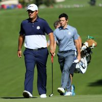 The Ryder Cup had a climactic conclusion in 2016 as Patrick Reed (left) of the U.S. matched Rory McIlroy of Europe birdie for birdie to win the competition. (Andrew Redington/Getty Images)