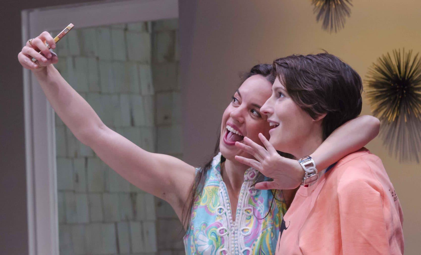 "Lydia Barnett-Mulligan and Amanda Collins in the Boston Playwrights' production of ""Elemeno Pea."" (Courtesy Kalman Zabarsky)"