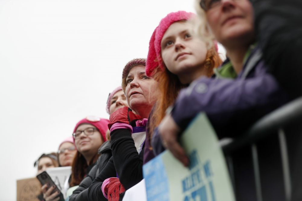 Protesters gather at the barricades for the Women's March on Washington during the first full day of Donald Trump's presidency, Saturday, Jan. 21, 2017 in Washington. (John Minchillo/AP)