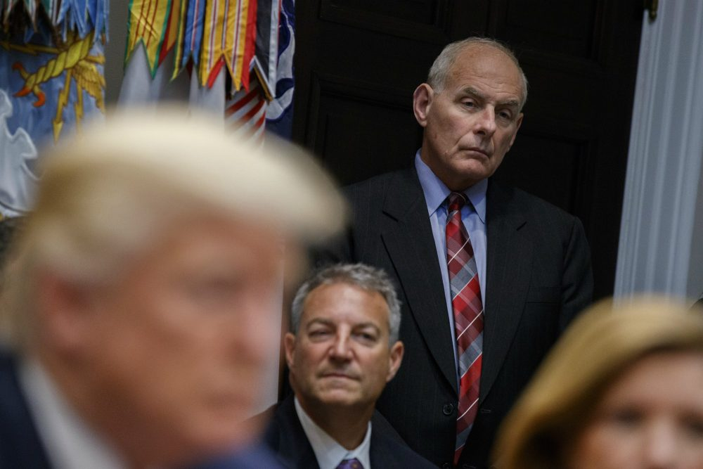 White House chief of staff John Kelly listens as President Donald Trump speaks during a meeting on tax policy with business leaders in the Roosevelt Room of the White House, Tuesday, Oct. 31, 2017, in Washington. (Evan Vucci/AP)