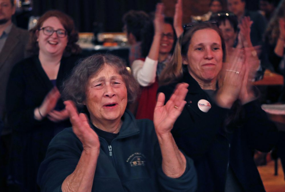 Chris Hastedt, left, and Robyn Merrill cheer during an announcement while awaiting results at the Mainers for Health Care election night party, Tuesday in Portland, Maine. (Robert F. Bukaty/AP)