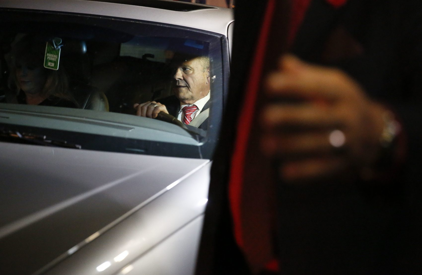 Former Alabama Chief Justice and U.S. Senate candidate Roy Moore drives away in his car after he speaks at a church revival, Tuesday, Nov. 14, 2017, in Jackson, Ala. (Brynn Anderson/AP)